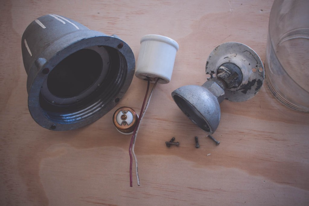 DIY vintage light fixture disassembled