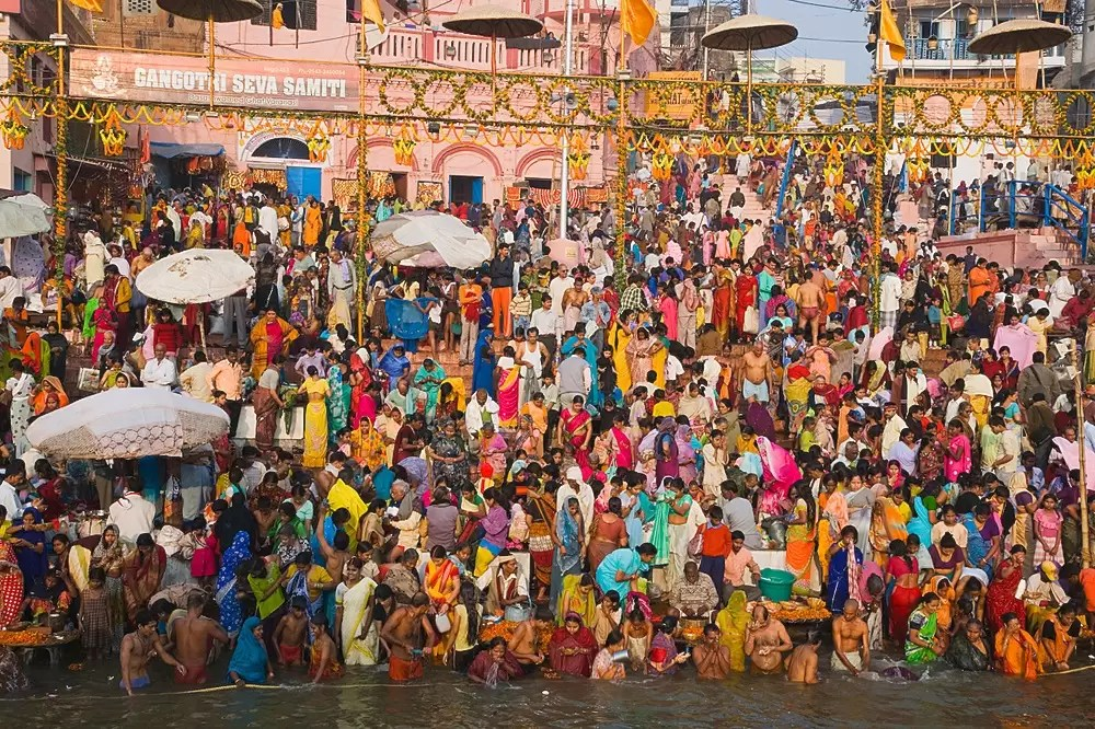 Thousands of people bathing in the Ganges River