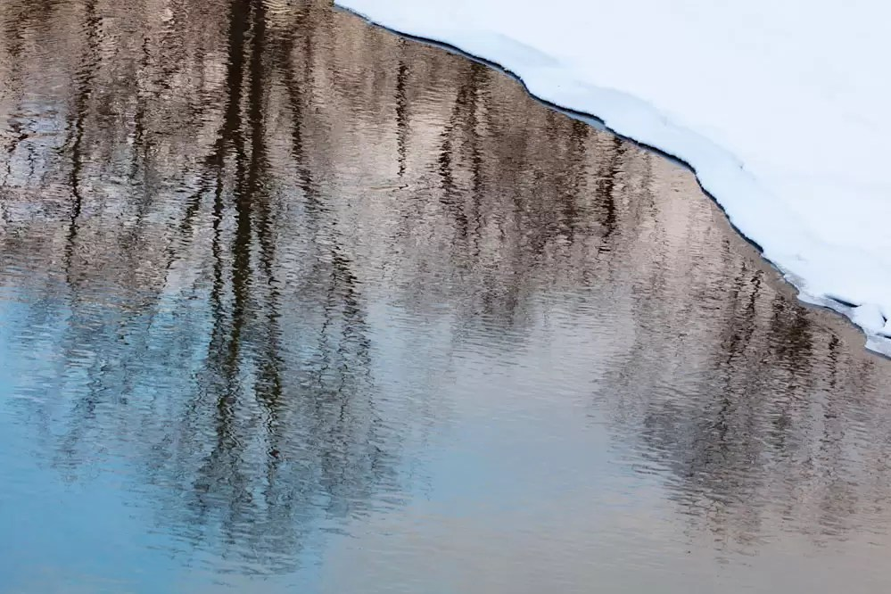 Winter reflections in a creek; northern Hokkaido