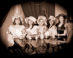 Southern Belles in a parlor.