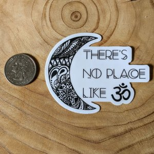 No place like OM meditation stickers- size reference