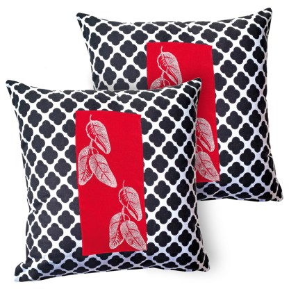 Twin set of designer cushion covers.