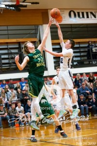 Joseph Eagles #12 Carson Littlepage, and South Wasco County #32, Brock LaFaver, during the 2020 1A High School State Championship Playoffs