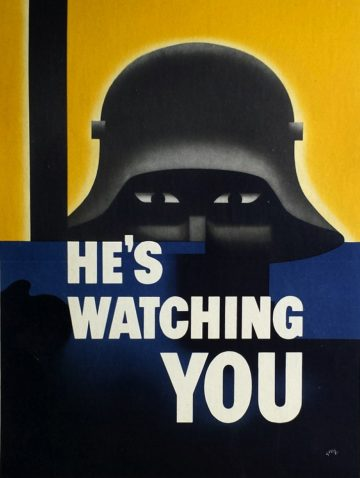 He's watching you German soldier anti-Nazi poster