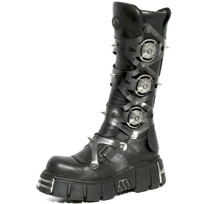 New Rock Boots 735 Itali Negro y Pulik Acero Tower Negro Acero