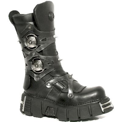 New Rock Boots 739 Itali Negro y Pulik Acero Tower Negro Acero