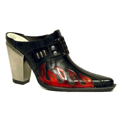 New Rock Boots 7905 Itali Negro y Lux Fuego Bull Negro y Tacon Acero