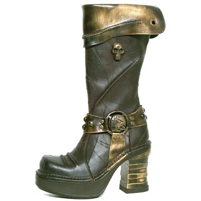 New Rock Boots 8309 Cheyenne Moro Pulik Oro Plataforma NRK Marron Bandas oro