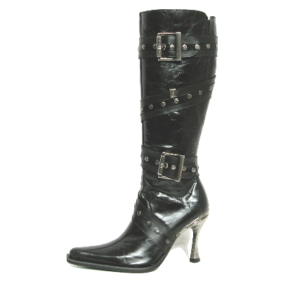 New Rock Boots 9029 Nomada Negro e Itali Negro Hoja Negro Tacon Salsa Acero