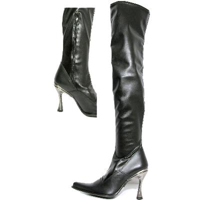 New Rock Boots 9051 Itali Negro y Piel Elastica Negra Hoja Goma Tacon Salsa Ace