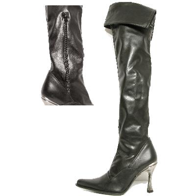 New Rock Boots 9052 Itali Negro y Piel Elastica Negra Hoja Goma Tacon Salsa Ace