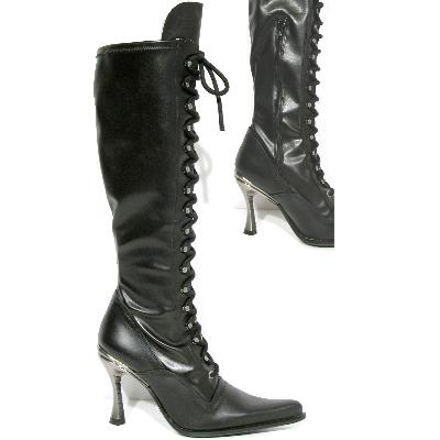 New Rock Boots 9053 Itali Negro y Piel Elastica Negra Hoja Goma Tacon Salsa Ace