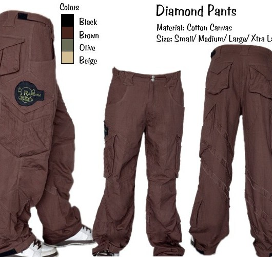 Random Mens Diamond Pants - BLACK