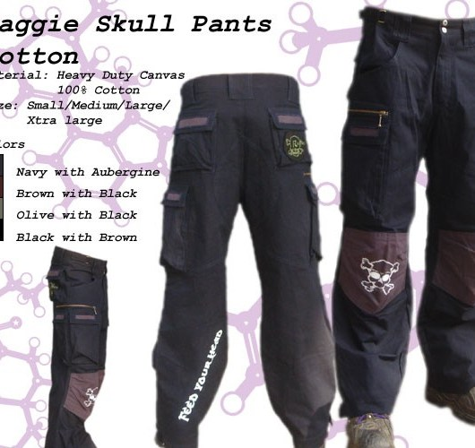 Random Mens Skull Pants - BLACK with BROWN patch