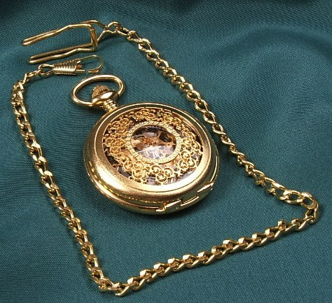 Golden Skeleton Mechanical Pocket Watch with open back, Roman Numerals
