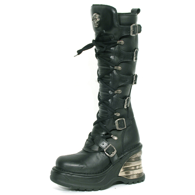New Rock Boots 8272 S1 Itali Negro Nomada Negro Cuña Bandas Negro
