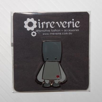 Grey Robot Cloisonne Badge with Swarovski Crystal
