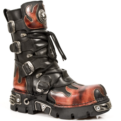 New Rock Boots 591-S1 ITALI NEGRO Y PULIK FUEGO, REACTOR NEGRO TOBERAS ORIFICI
