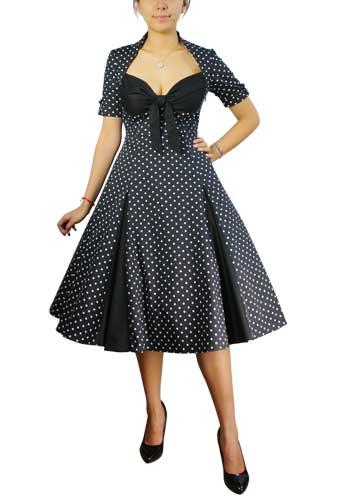 Chicstar Polka-dot Swing Dress - all black