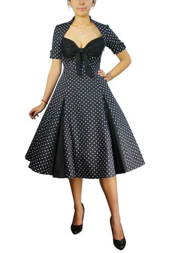 Chicstar Polka-dot Swing Dress - all black