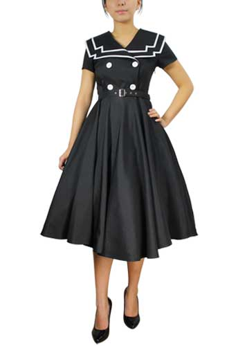 Chicstar Vintage Sailor Swing Dress - Black