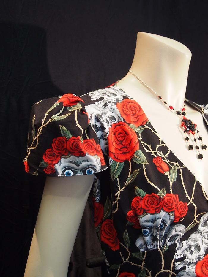 Rockabilly Skulls & Roses Black Dress - Cap Sleeve