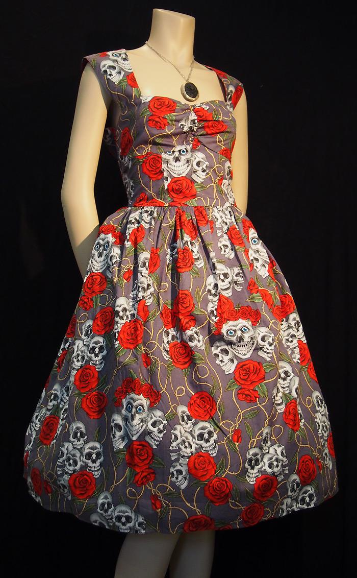 Rockabilly Skulls and Roses Grey Backless Dress