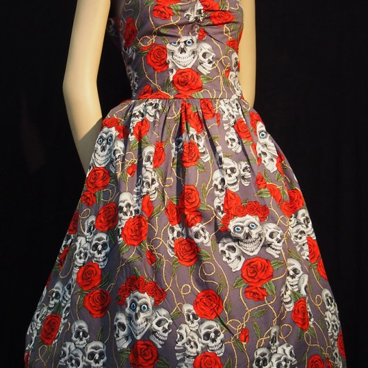 Rockabilly Skulls and Roses Grey Backless Dress