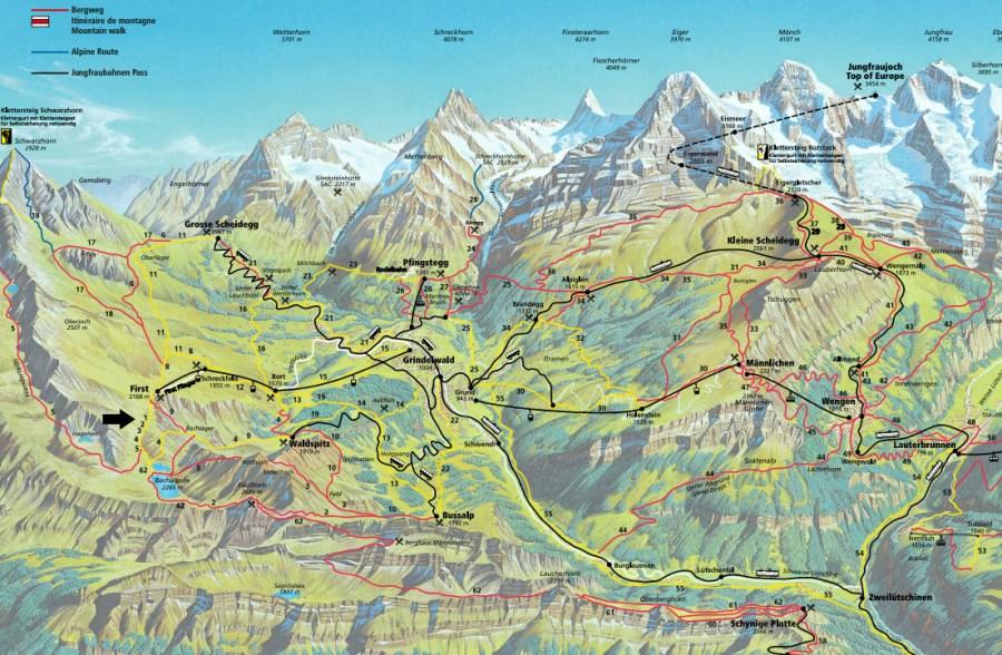 mapa jungfrau alpes con niños