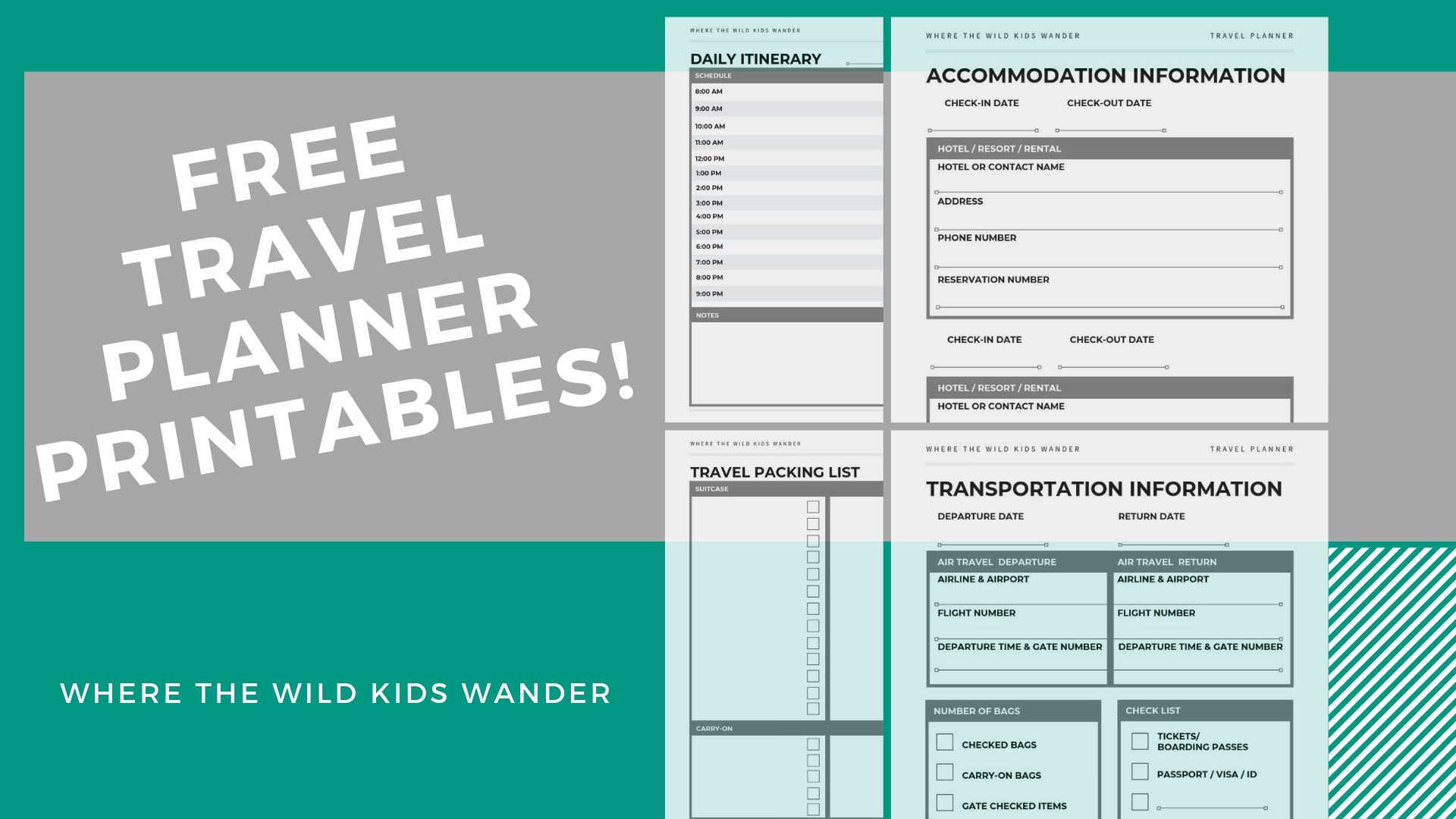 picture relating to Travel Planner Printable named Absolutely free Printable Drive Planner - Exactly where the Wild Children Walk