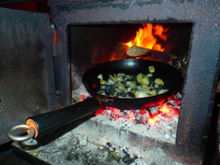 Frying mussels and Paua with onions