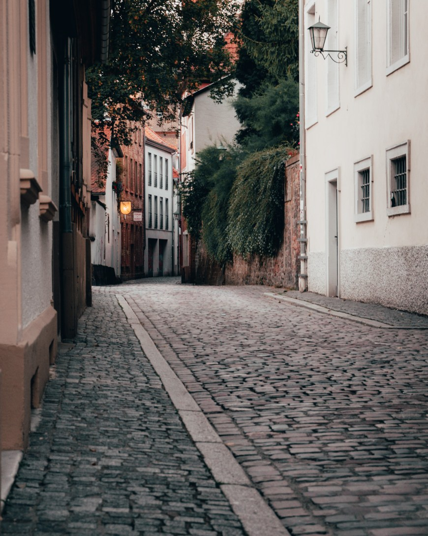 A cobblestone alley way in Heidelberg, Germany
