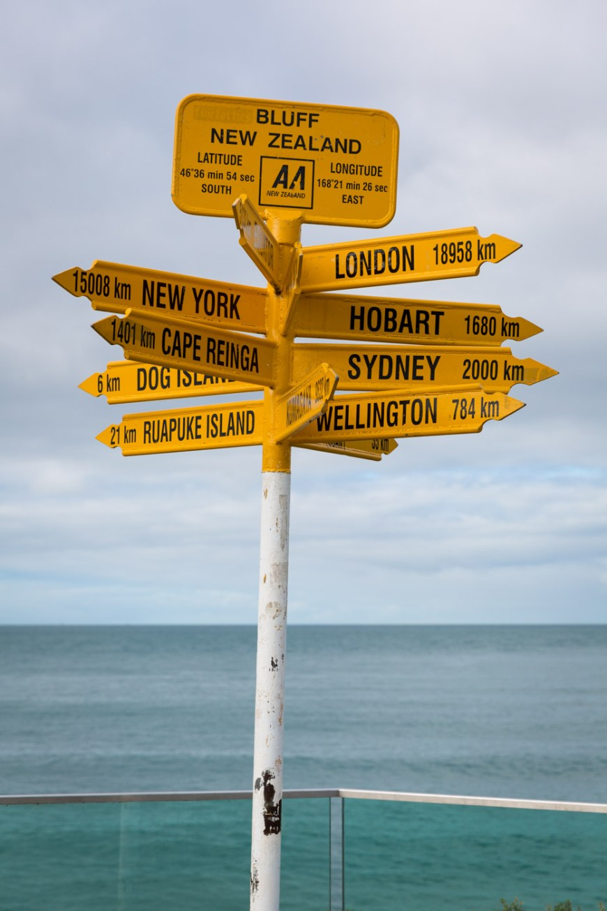 Farthest point south on New Zealand. Bluff, South Island, New Zealand directional sign.