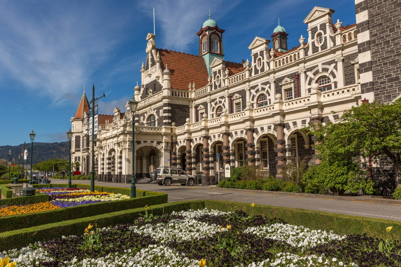 Dunedin Rail Station Exterior, South Island, New Zealand