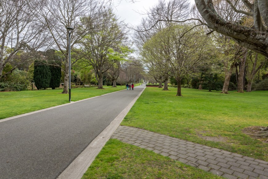 A pathway leading through the Queen's Park, Invercargill, South Island, New Zealand.