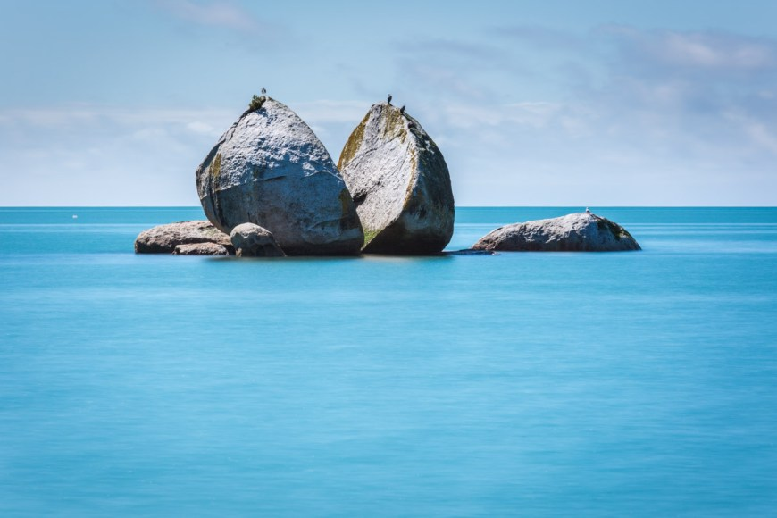 Split Apple Rock in Abel Tasman National Park on the South Island of New Zealand.