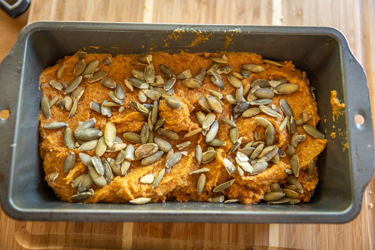 Whole Wheat Pumpkin bread ready to go into the over.