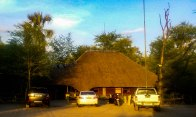 Nata Lodge reception and the cool thatching of the name on the roof. Love the creativity of this continent.