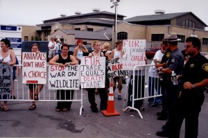 Animal rights protest activists picketing at fur trapping convention. Photo by Stephen M. Vantassel.