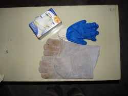 Gauntlet welding gloves, latex gloves, and rubberized palm cotton gloves