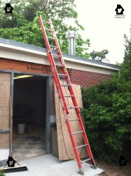 Fiberglass extension ladder.