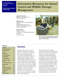 Cover page of the Information resources for animal control and wildlife damage management article.