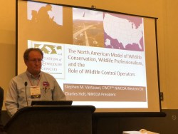 Stephen M. Vantassel at the 25th Wildlife Society Conference in Cleveland, OH explaining how wildlife agency neglect of wildlife control operators harms wildlife and consumers.