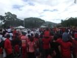 Patriotic people in their red