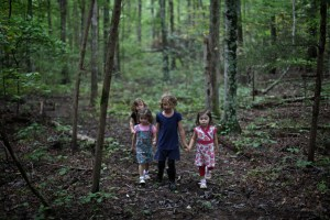 Some young future Rangers walking in the woods