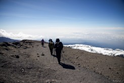Returning from the summit of Kilimanjaro, with the Rebmann Glacier visible below