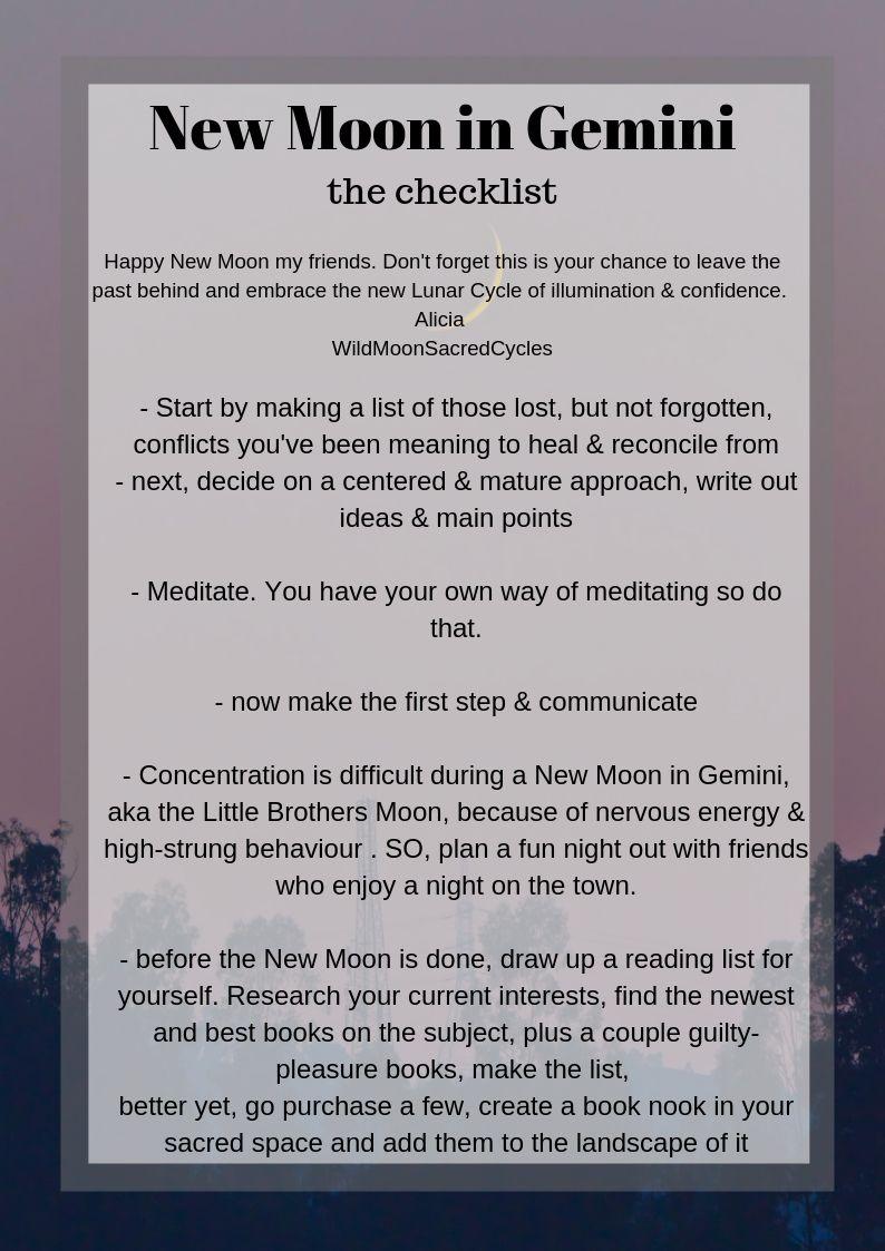 New Moon in Gemini the checklist
