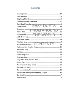 Easy Duets from Around the World Contents sample