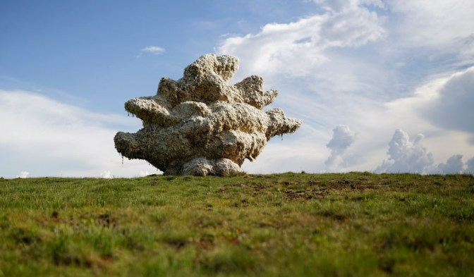This photograph shows a sculpture of a moving cloud made of wool. He gives a new sense of life to this material and reminds us of what is alive in what first appears as a barren, lifeless plain.