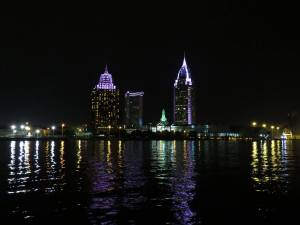 Port of Mobile on sunset/night Harbor tour
